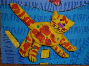 Игрушка из глины. Кот