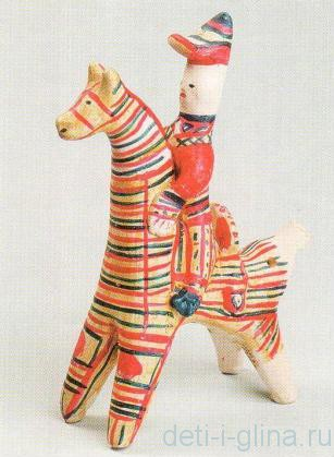 филимоновская игрушка - всадник на коне