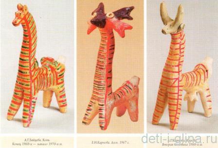 филимоновская игрушка - конь, лось, корова