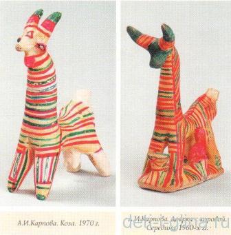 филимоновская игрушка - коза, доярка с коровой